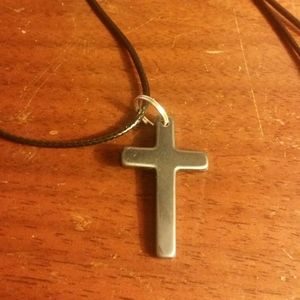 Hematite cross necklace 20 inch cord